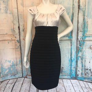 LONDON TIMES Metallic Silver Black Body Con Dress